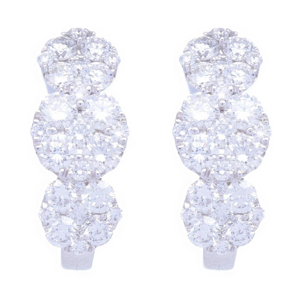18k White Gold Circle Station Cluster Diamond Hoop Earrings