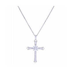 Closeup photo of  Cross Pendant 18k White Gold and Diamond