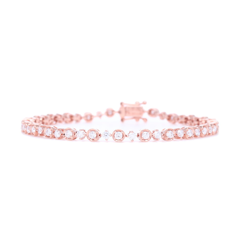 Diamond Bracelet with Clasp 18k Rose Gold with Diamonds
