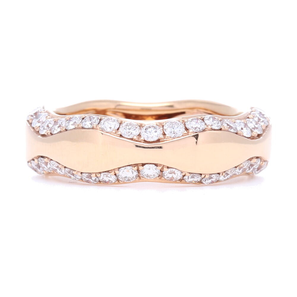 18k Rose Gold Wave Diamond Ring