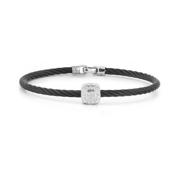 Closeup photo of Black Cable Essential Stackable Bracelet with Single Large Square Diamond Station set in 18kt White Gold