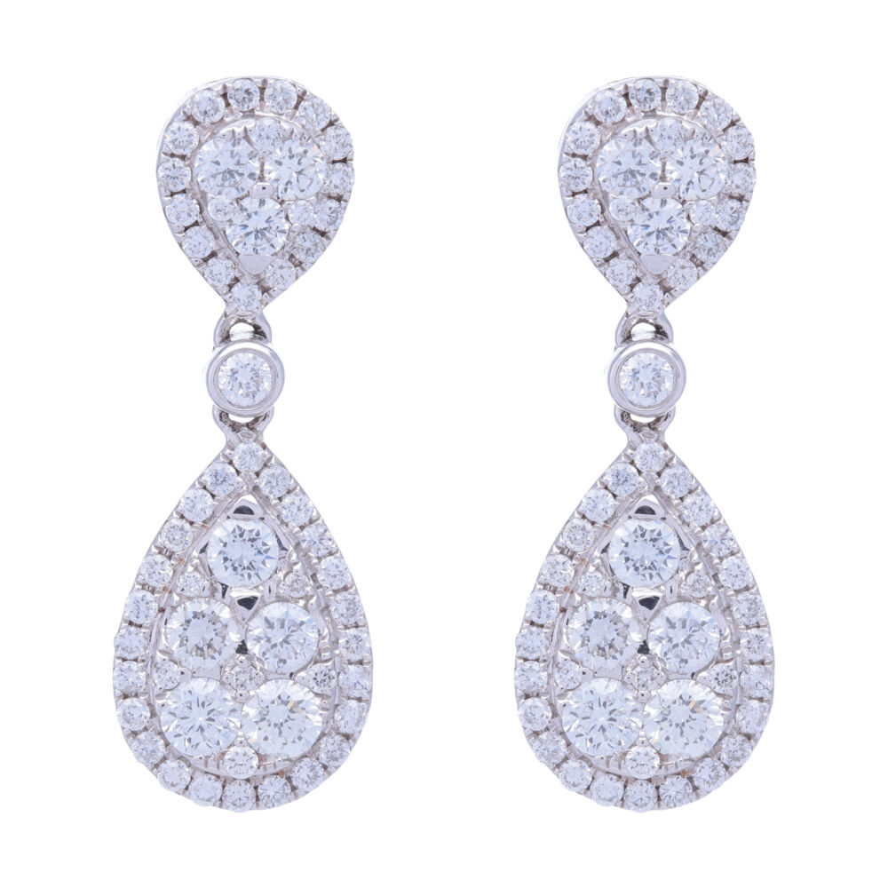 18k White Gold Pear Shaped Dangling Diamond Cluster Earrings