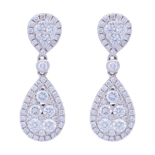Closeup photo of 18k White Gold Pear Shaped Dangling Diamond Cluster Earrings