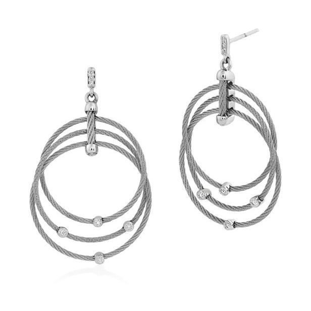 Diamond Teardrops Three Cable Hoop Drop Cable Earrings