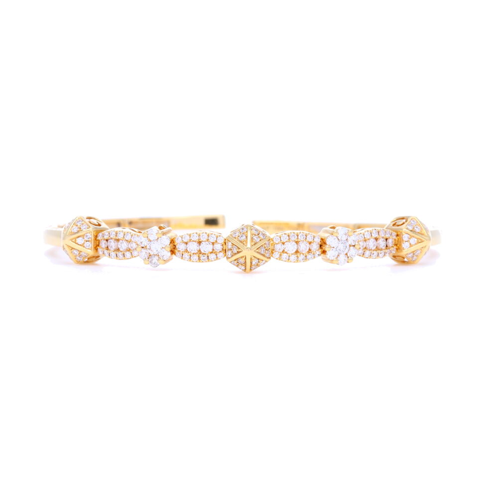 18k Diamond Pyramid Flexible Bracelet