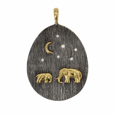 Collection: Old World Style #: 13634 Description: Old World blackened sterling silver/18k yellow gold scalloped 7mm round Rutile triplet crivelli chain chandelier earring with white diamonds. Diamond weight - 0.19 ct.Metal: .925 Sterling Silver/18k Yellow Gold