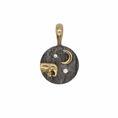 Collection: Old World Style #: 13632 Description: Old World blackened sterling silver/18k yellow gold long crivelli pave spike earring with champagne diamonds. Diamond weight - 0.84 ct.Metal: .925 Sterling Silver/18k Yellow Gold