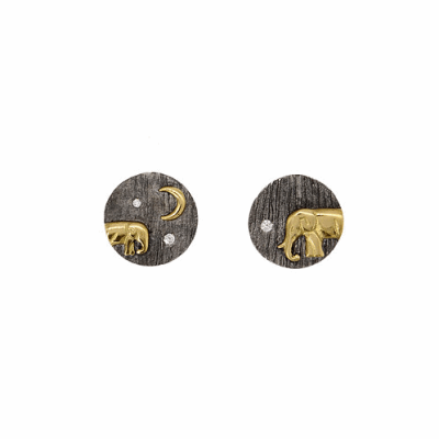 Collection: Old World Style #: 13630 Description: Old World blackened sterling silver/18k yellow gold small crivelli and pave double-spike earring with champagne diamonds. Diamond weight - 0.54 ct.Metal: .925 Sterling Silver/18k Yellow Gold