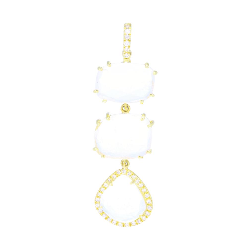 Rainbow Moonstone Triple Drop Necklace