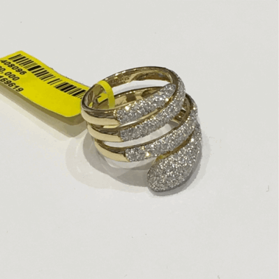 Collection: Old World Style #: 11539 Description: Old World blackened sterling silver/18k yellow gold large 23mm pave 4-crivelli bean-shaped ring with champagne diamonds. Diamond Weight 1.03ct