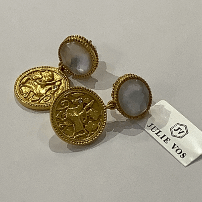 Collection: Old World Style #: 11723 Description: Sueno 18k yellow gold 12x10mm oval Togetherness Coin artifact earrings with white diamonds. Diamond Weight 0.53ct