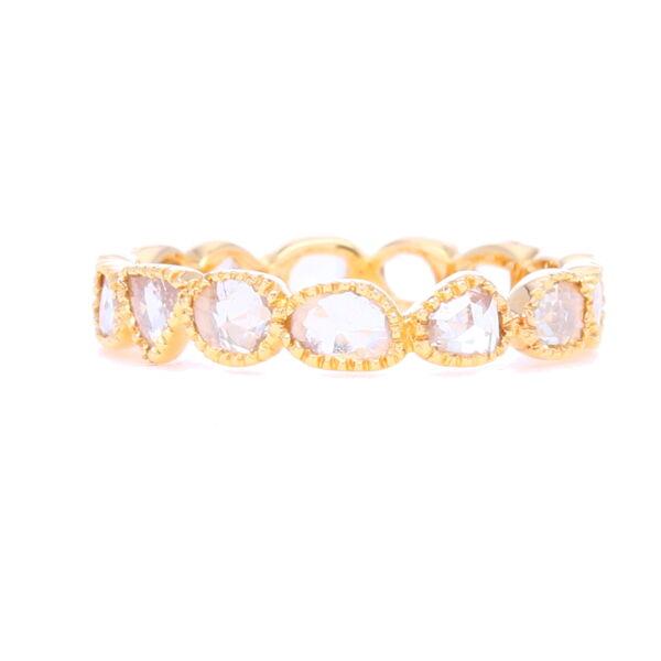 "Closeup photo of ""Maya"" Rough Cut Bezel Set Diamond Stack Ring"