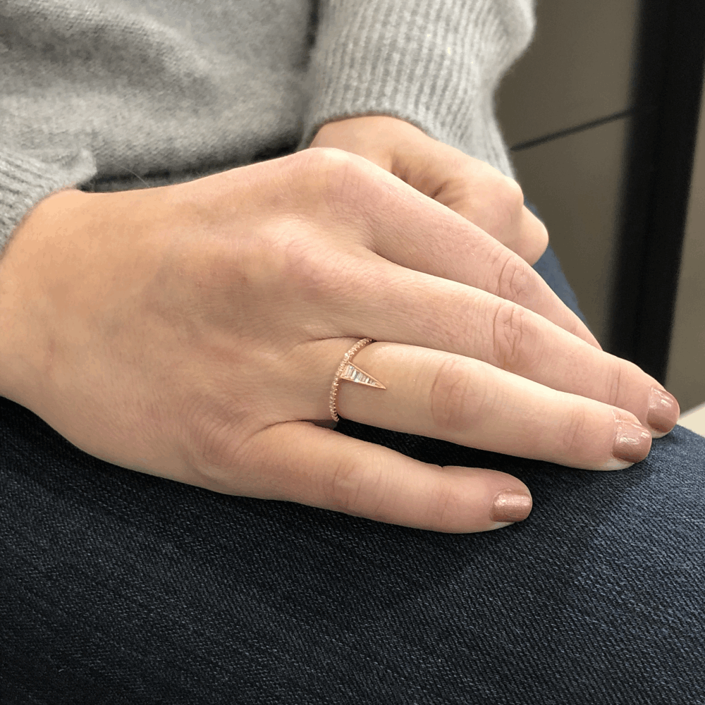 Image 2 for Small 18k Rose Gold Triangle Top Diamond Ring