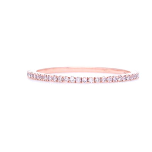 Closeup photo of 18k Rose Gold Pink Diamond Ring