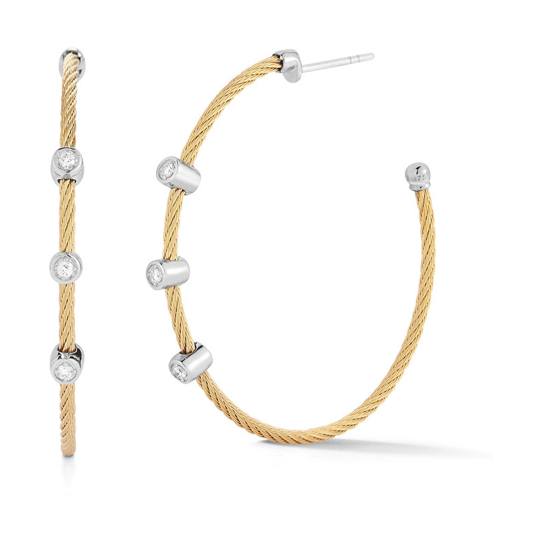 Three Diamond Station Twisted Cable Hoop Earrings