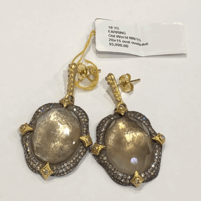 Collection: Old World Style #: 02414 Description: Dulcinea Old World and yellow gold open earrings with mandorla diamond dangle.Metal: .925 Sterling Silver/18k Yellow Gold