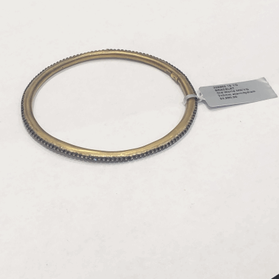 Collection: Old World Style #: 03290 Description: Yellow Gold bangle bracelet with 6 Old World scroll stations and white diamonds.Metal: .925 Sterling SilverS/18k Yellow Gold