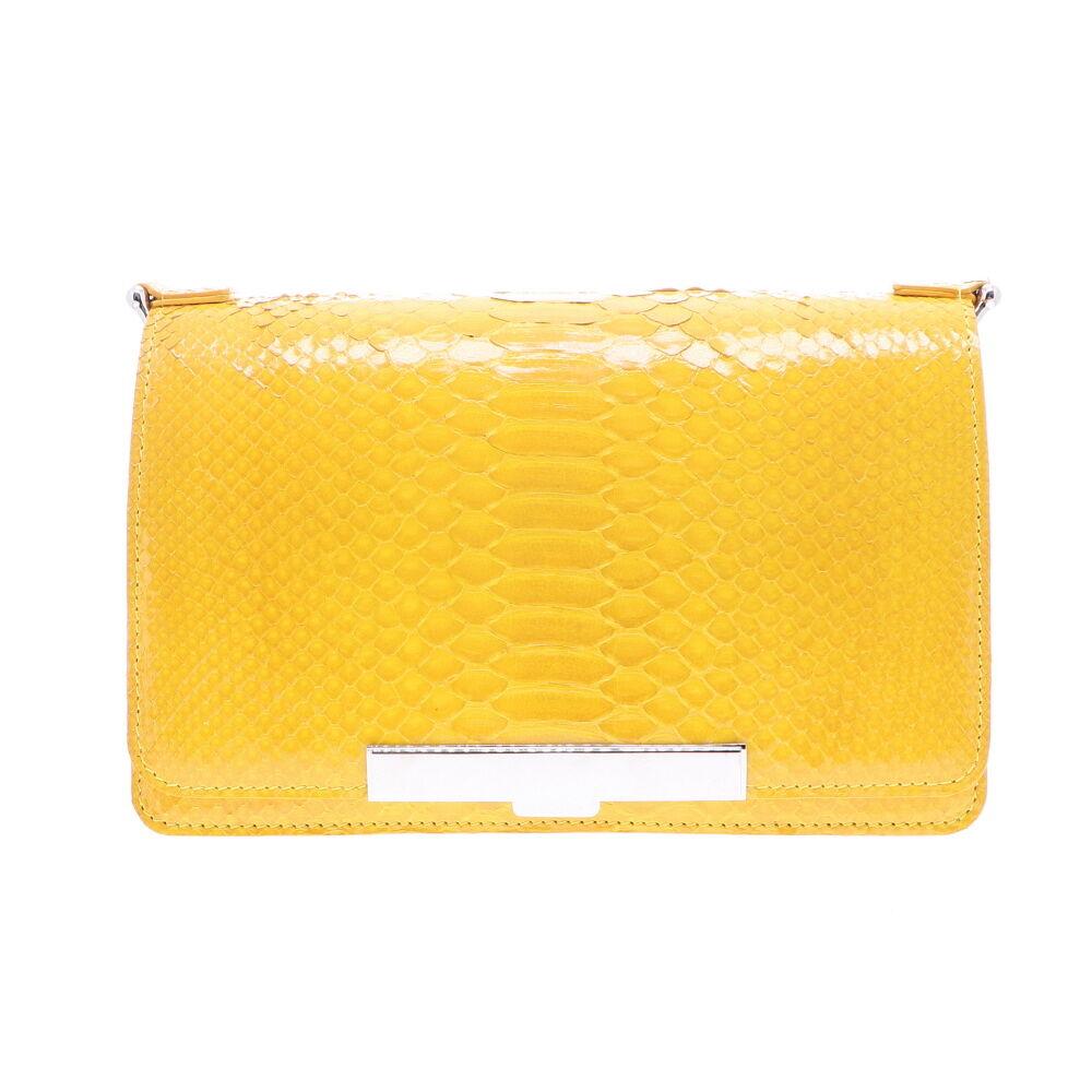 Electric Yellow Python Chain Bag