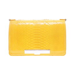 Closeup photo of Electric Yellow Python Chain Bag
