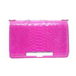 Closeup photo of Electric Pink Python Chain Bag