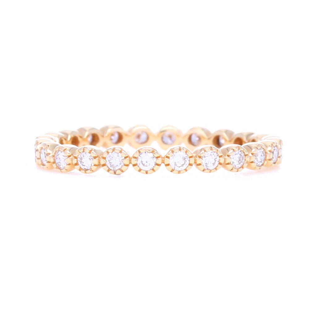 Brilliant Cut Eternity Stack Ring 14K Gold with Diamonds