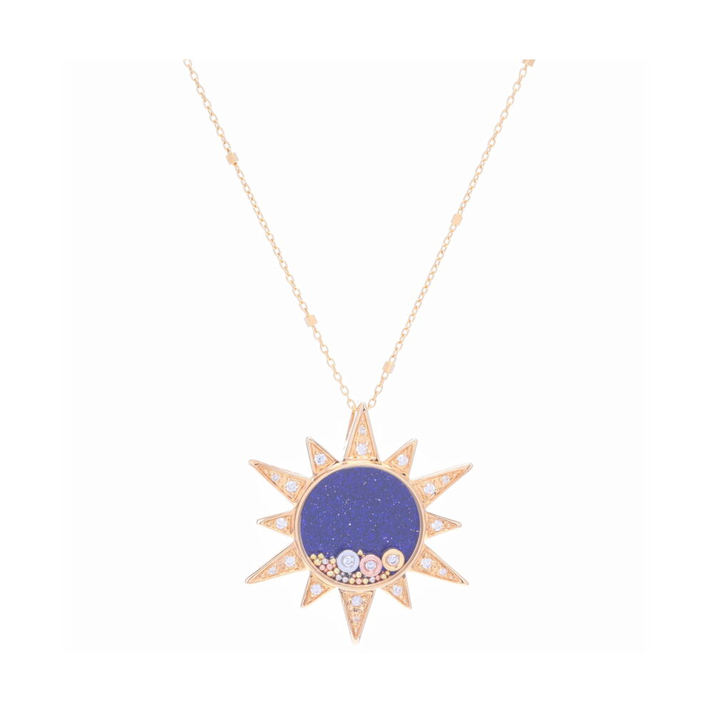 14K Yellow gold pave sun with blue sandstone center