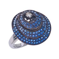 Closeup photo of Three Layered Circle Sapphire Ring With Diamonds