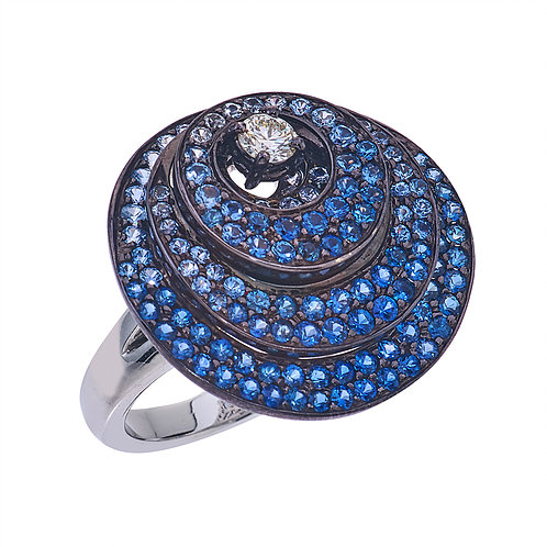 Closeup photo of Three Layered Circle Sapphire Ring With Diamonds