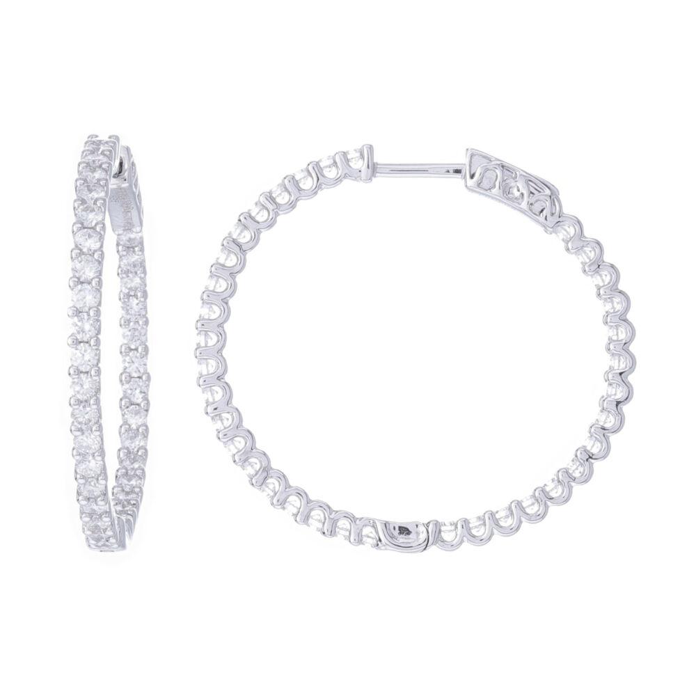 Round Diamond Inside Outside Hoop Earrings