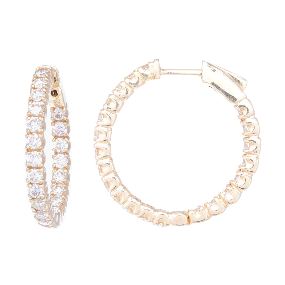 Round Diamond In and Out Huggie Earring