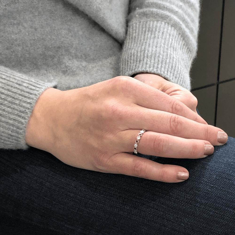 Image 2 for Milgrain Bezel Set Round Diamond and Sapphire Ring
