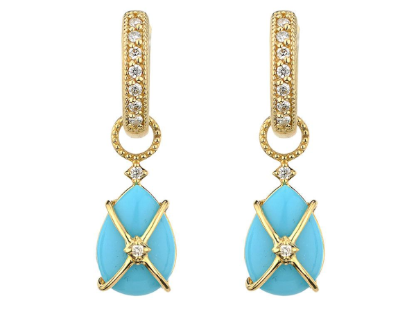 Closeup photo of TINY CRISS CROSS WRAPPED PEAR STONE EARRING CHARMS