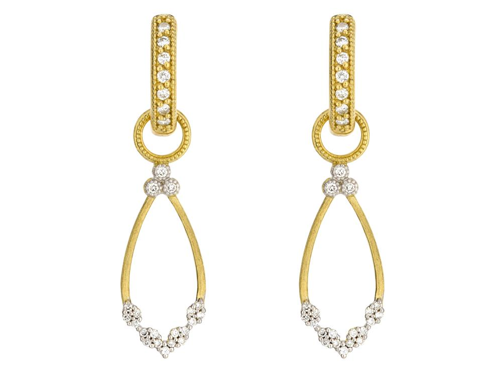 Provence Champagne Open Pear Bezel Earring Charms