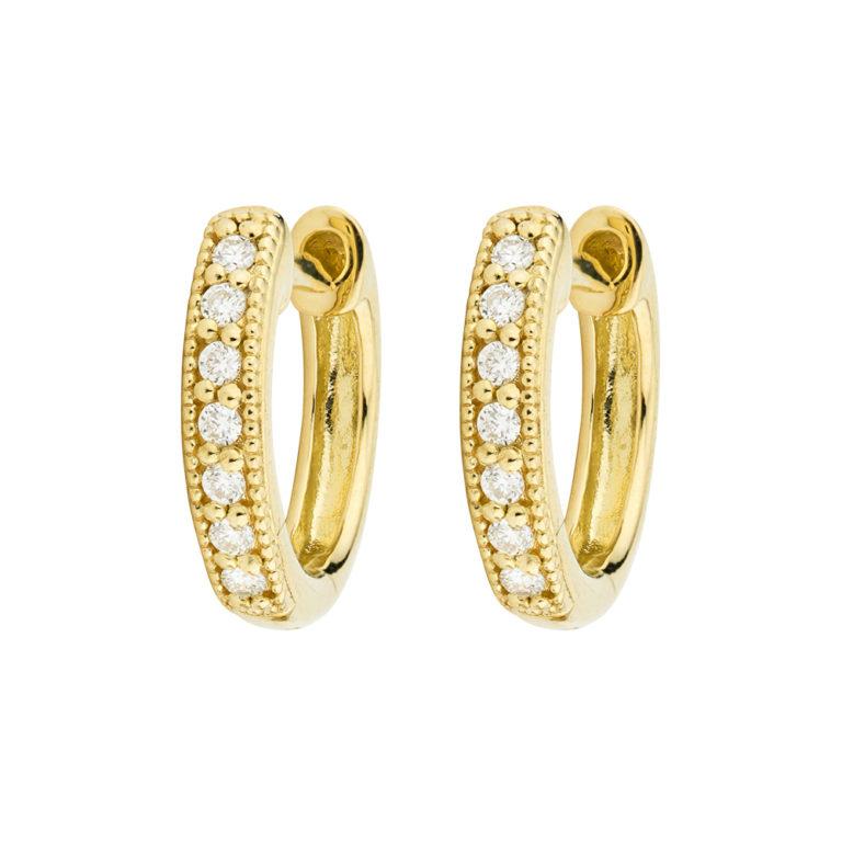 Diamond Huggie Hoop Earrings (Yellow, White, or Rose)