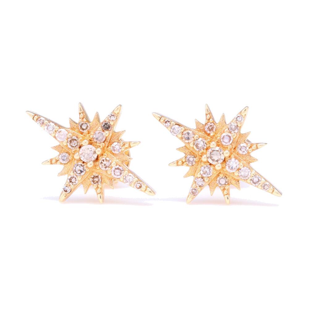 14k Yellow Gold Diamond North Star Stud Earrings