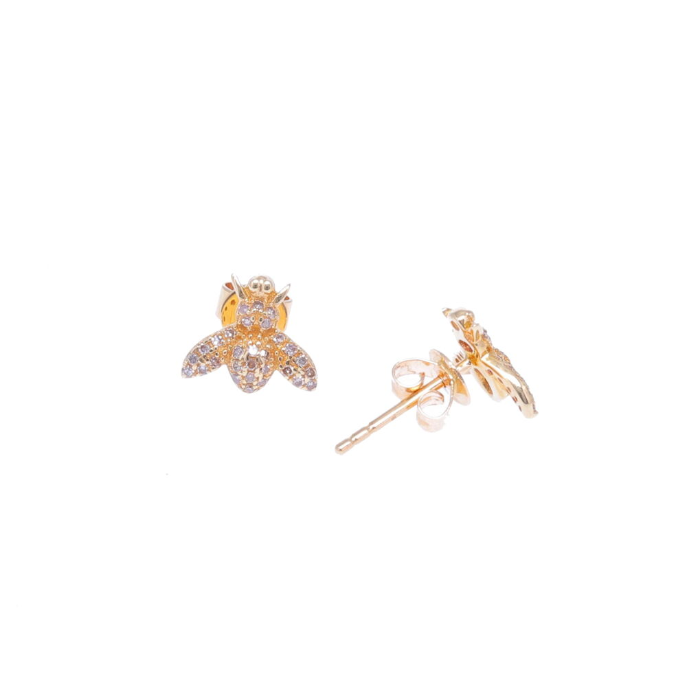 Image 2 for 14k Yellow Gold Diamond Bee Studs