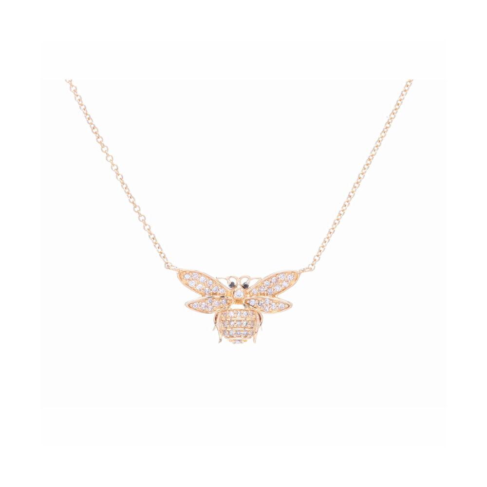 14k Small Diamond Bee Pendant Necklace