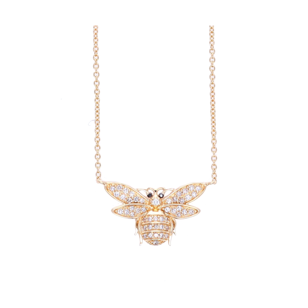 Image 2 for 14k Small Diamond Bee Pendant Necklace
