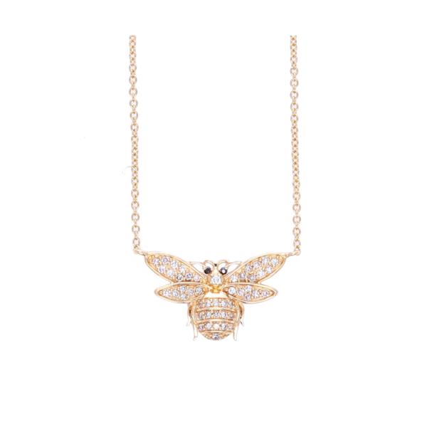 Closeup photo of 14k Small Diamond Bee Pendant Necklace