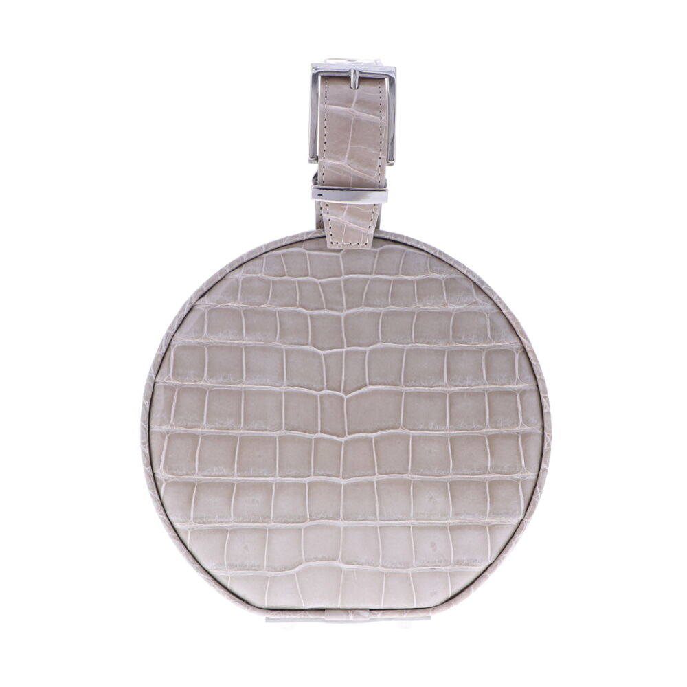Beige Alligator Hat Box Chain Bag