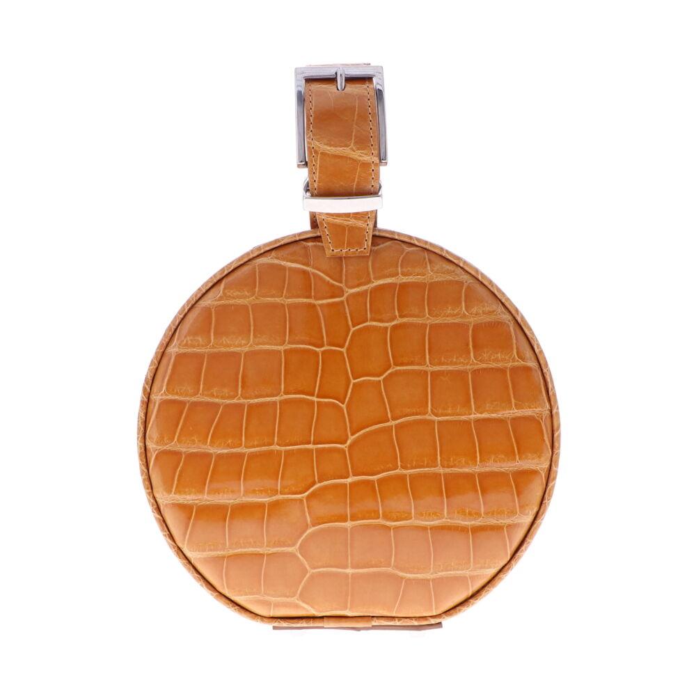 Caramel Alligator Hat Box Chain Bag