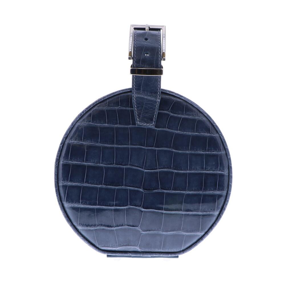 Slate Blue Alligator Hat Box Chain Bag