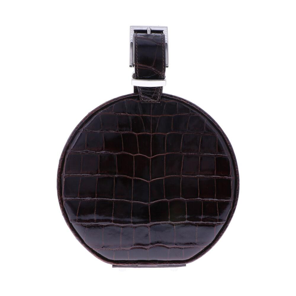 Chocolate Brown Alligator Hat Box Chain Bag