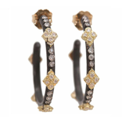 Closeup photo of Old World Crivelli Crosses Small Hoop Earrings With Diamonds