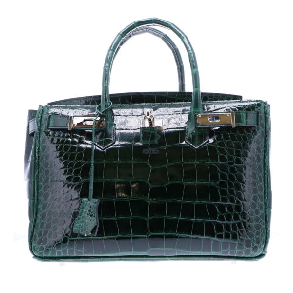 Closeup photo of Classic 30 Forest Green Alligator Handbag