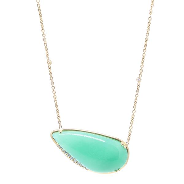 Closeup photo of Aqua Chalcedony and Diamond Pendant Necklace
