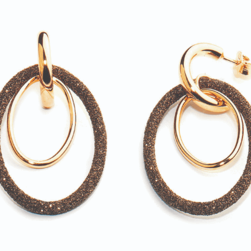 Closeup photo of Double Oval Fine Earring Rose Gold Dark Brown Polvere