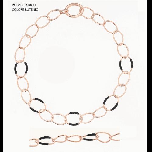 Closeup photo of Polvere Wave Link Collar Necklace Rose Gold Dark Gray Polvere