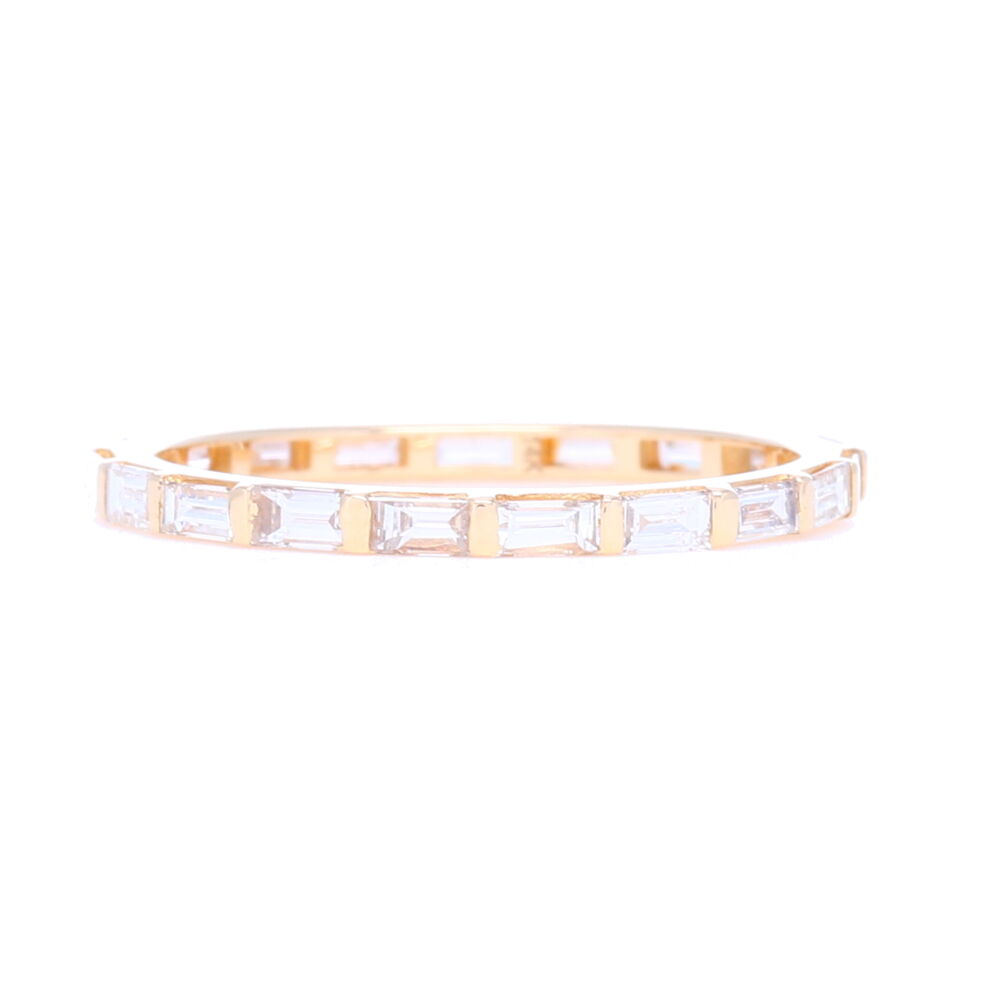 Step Cut Diamond Eternity Stack Ring 14k Gold with Diamonds