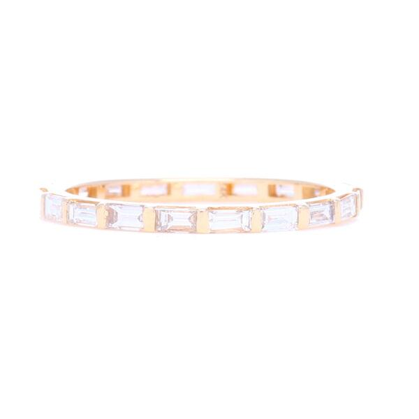 Closeup photo of Step Cut Diamond Eternity Stack Ring 14k Gold with Diamonds